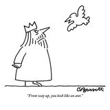 """From way up, you look like an ant."" - New Yorker Cartoon Premium Giclee Print by Charles Barsotti"