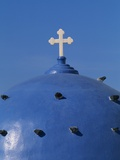 Blue dome of a church with cross on Santorin, Greece Photographic Print by Murat Taner