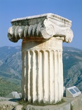 Ionian column an the Holly Street in Delphi, Greece Photographic Print by Ladislav Janicek