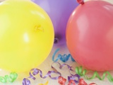 Party Balloons and Curly Ribbons Photographic Print by Jamie Grill