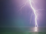 Lightning Storm over Ocean Photographic Print by Peter Wilson