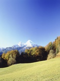 Landscape during autumn in front of the 'Watzmann' mountain Photographic Print by Dietrich Rose