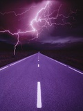 Lightning over Highway Photographic Print by Otto Rogge