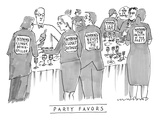 Men and women stand around at a cocktail party. Signs on their backs read,… - New Yorker Cartoon Premium Giclee Print by Michael Crawford