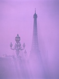 Eiffel Tower and Candelabra with Fog in Paris Photographic Print by Fridmar Damm