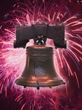 The Liberty Bell and Fireworks Photographic Print by Tom Grill