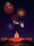 United States Capitol Building and Fireworks Fotografisk tryk af Bill Ross