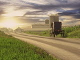 Amish Buggy on Road to Farm Photographic Print by  Envision