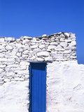 Door and front of a building, Mykonos, Greece Photographic Print by Larry Dale Gordon