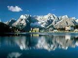 View of town, Lake Misurina, Alps, Italy Photographic Print by Manfred Mehlig