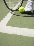 Tennis Player on Court Photographic Print by Tom Grill