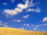 Cumulus Clouds and Wheat Fields in Fall, Washington Photographic Print by John Eastcott & Yva Momatiuk