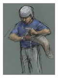 Illustration of a Jai Alai Player Putting on a Cesta by Alexandra Day Giclee Print by Alexandra Day