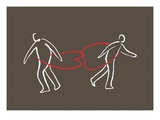 Two figures held together by hearts around their waists Giclee Print by Jordi Elias