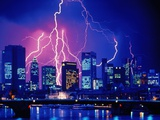 Lightning over the skyline of Frankfurt/Main Photographic Print by Eberhard Streichan
