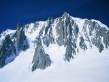 Montblanc, glacier covered with snow, France, Chamonix Fotografisk tryk af Frank Lukasseck