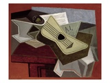 Guitar and Newspaper Giclee Print by Juan Gris