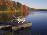 Adirondack Chairs on Dock at Lake Photographic Print by Ralph Morsch