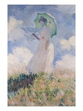Woman with Parasol Turned to the Left Giclée-Druck von Claude Monet