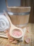 Tub, Wooden Spoon with Bath Salts, and Petals Photographic Print by Gregor Schuster
