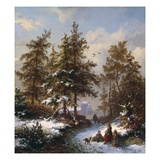 Gathering Firewood Giclee Print by Frederik Marianus Kruseman
