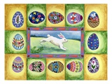 Rabbit in the middle of mural with eggs Giclee Print