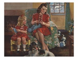 Calendar Illustration of Mother and Daughter Knitting by F. Sands Bruner Giclee Print