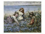 Young Girls in a Field of Cornflowers Giclee Print by Edward Atkinson Hornel