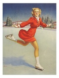 Ice Skating Pinup Girl by Al Buell Giclee Print