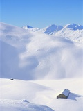 Hut in mountains, winter, Lenzerheide, Graubunden Canton, Switzerland Photographic Print