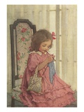 Illustration of a Little Girl Knitting by Jessie Willcox Smith Giclee Print