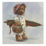 Illustration of a Teddy Bear with a Picnic Basket by Alexandra Day Giclee Print by Alexandra Day