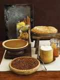 Autumn Pies: Apple/Pear, Pumpkin, and Pecan with Honey and Whipped Cream Photographic Print by Envision