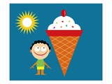 boy with tongue out by giant ice cream cone Giclee Print