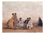 On the Beach at Trouville Giclee Print by Eugène Boudin