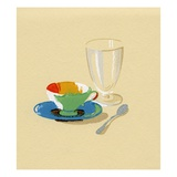 Lithograph of Cup, Saucer and Empty Glass Giclee Print