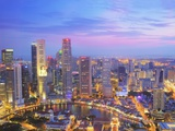 Singapore Skyline at Dusk Photographic Print by Paul Hardy