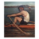 two men rowing in competition Giclee Print