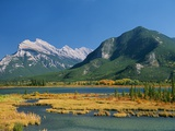 Mount Rundle and Sulphur Mountain from Vermilion Lake Photographic Print by Mike Grandmaison
