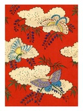 Illustration of Butterflies on Red and White Background Giclee Print