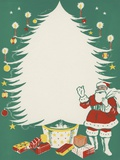 Greeting Card with Santa Claus and Christmas Tree Photographic Print