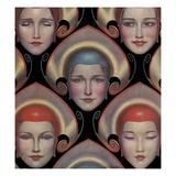 Magazine Illustration of Female Masks by W.T. Benda Giclee Print