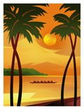 People Rowing in Tropical Waters Giclee Print