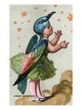 Illustration of Child Dressed in Bird of Paradise Costume Reproduction procédé giclée