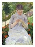 Young Woman Sewing in the Garden Giclee Print by Mary Cassatt