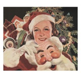 Illustration of Woman with Santa Claus Mask Giclee Print