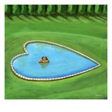 Couple Kissing in Heart-Shaped Swimming Pool Giclee Print