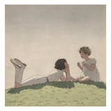 Illustration of Sisters Talking on Hill by Andre Edouard Marty Giclee Print