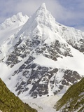 Snowy Peak Towering over King Penguins and Fur Seals Photographic Print by John Eastcott & Yva Momatiuk