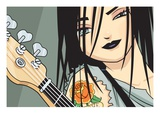 Girl with Guitar Giclee Print by Harry Briggs